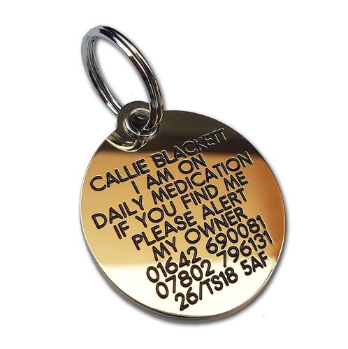 Reinforced circle Solid Engraved  Brass ID tags - 39mm